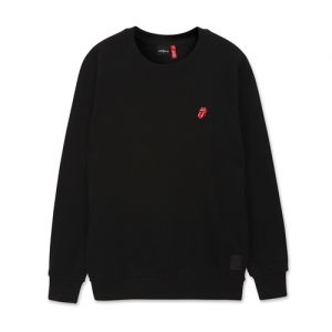 [THE ROLLING STONES] CLASSIC TONGUE EMB CREWNECK BLACK