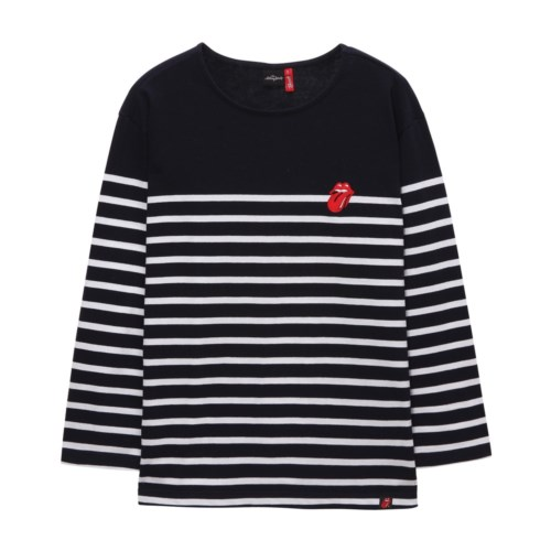 [THE ROLLING STONES] VINTAGE TONGUE STRIPE BORDER TEE NA