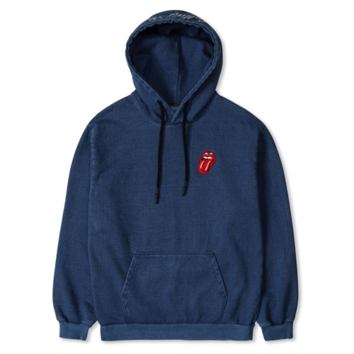 THE ROLLING STONES CLASSIC TONGUE COLOR HOODIE DENIM
