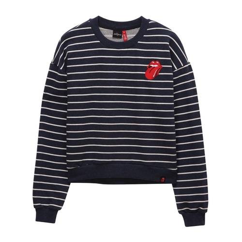 [THE ROLLING STONES] VINTAGE TONGUE STRIPE CROP CREWNECK (네이비)